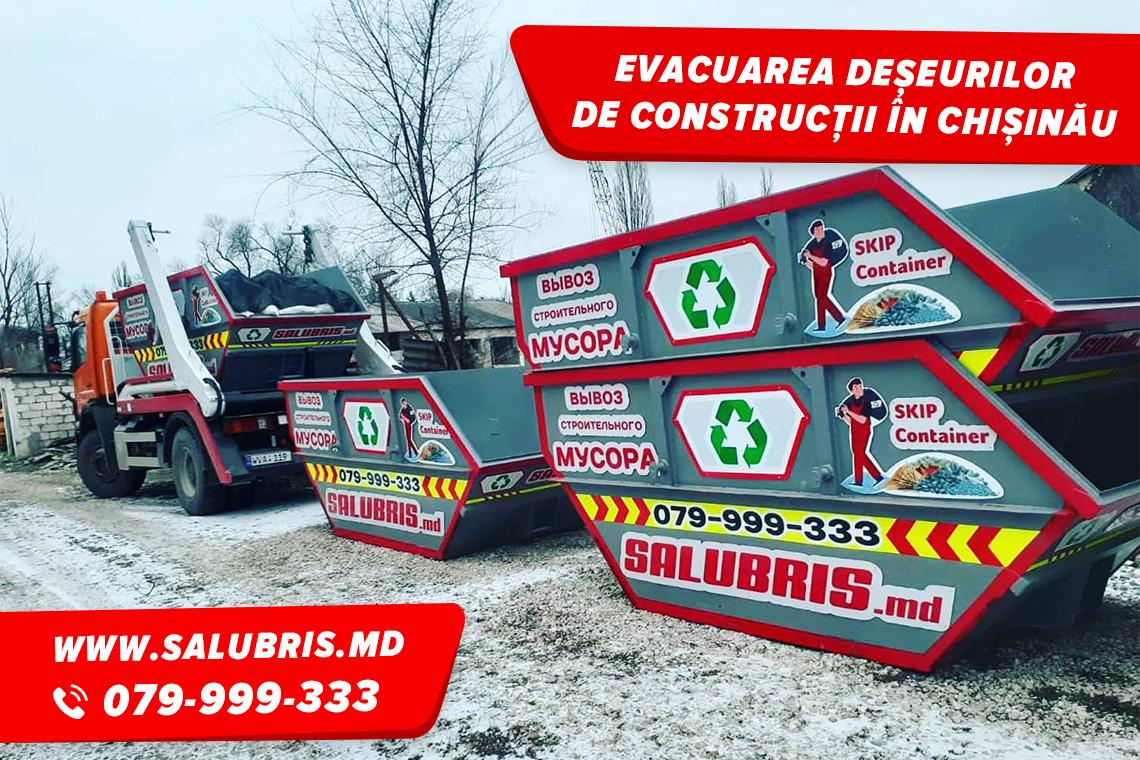 Evacuarea deșeurilor de construcție cu container în Chișinău